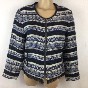 Ann Taylor Loft Print Zip Jacket 10 NEW